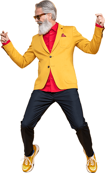 hip elderly man dancing in a bright suit